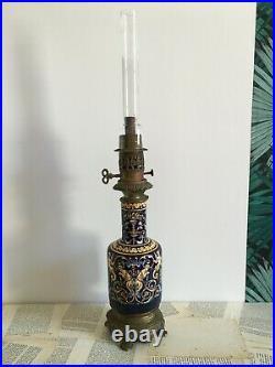 GIEN Model Renaissance Antique Lamp Oil Oil Faience 19th