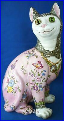 Galle Cat Antique French Faience Large Animal Signed Nance Glass Eyes