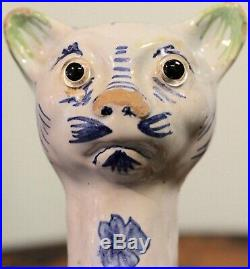 Gorgeous Antique French Faience Galle Style Cat Statue 19th Century
