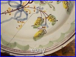 Gorgeous Antique French Faience Huge Plate Or Bowl 16th 17th Century Tin Glaze