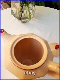 Gorgeous antique french coffee or tea set Digoin powder pink red Art Deco 1930s