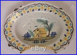 Great 18th or Early 19th Cen. Faience Barbers Shaving Blood Letting Bowl