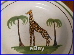 Great Antique 19th Century French Faience Plate With Giraffe decoration