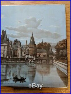 H Boulenger Choisy le Roi Antique French Faience Scenic Tile 19th Century