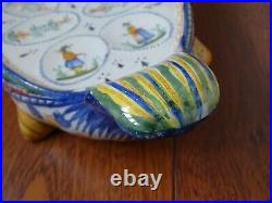 HENRIOT QUIMPER French faience swan egg server set 7 pieces with 6 egg holders