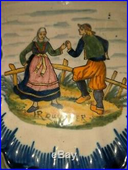 HR QUIMPER French Faience Antique Double Inkwell Early 20th Century Hand Painted
