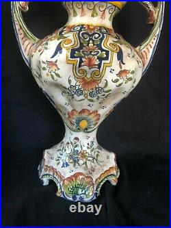 Huge Antique ROUEN French Tin Glaze Faience Pottery Vase