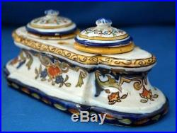 Inkwell Antique Rouen French Faience Pottery Ceramic Hand Painted Quimper Style