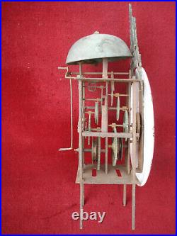 L 18th C French Faience Dial Lantern Clock Iron Frame Movement Long Duration #3