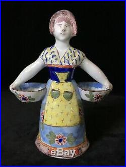 LADY DOUBLE SALT Nevers style marked STC CIMENY Antique French Faience c. 1895