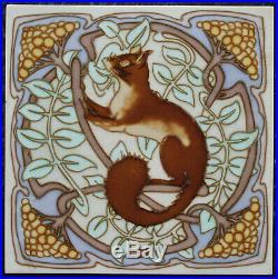 Large 8 French tubelined decoration Art Nouveau tile squirrel