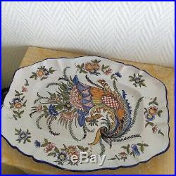 Large Antique 1800s Platter Tray KG Lunéville Hand French Faience Plate Ceramic