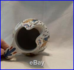 Large Antique French Faience CA Alcide Chaumeil Pitcher with Brittany Crest