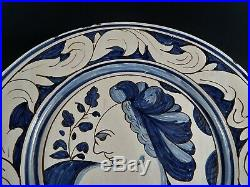 Large Antique French or Italian Continental Faience Majolica Charger GUBBIO