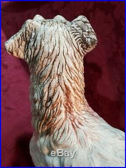 Large Antique Life Size Dog Statue Glass Eyes French Faience Majolica Terrier
