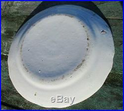Large Antique Porcelain Plate 18th Century Strasbourg French Faience Luneville