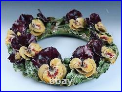 Large Antique Sarreguemines Pansy Wall Table Wreath French Faience Majolica