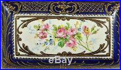 Large EARLY Antique FRENCH 19th C PORCELAIN & BRONZE Mounted Faience JEWELRY BOX