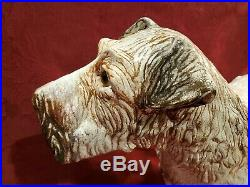 Large Life Size Antique FRENCH FAIENCE Dog Statue Majolica Glaze Glass Eyes