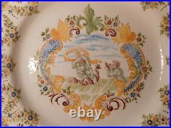 Large Plate Antique Faience Samson Moustiers 19 Century Decor Mythological 1