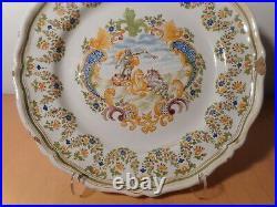 Large Plate Antique Faience Samson Moustiers 19 Century Decor Mythological 3