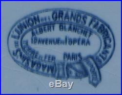 Large Serving Dish Blue French Faience Medalion Mono L Paris Opera 1880