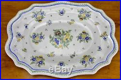 Large mid century Moustiers faience soup tureen and platter