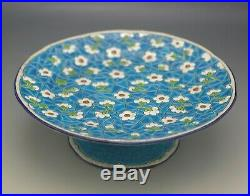 Longwy France Majolica Faience Cake Stand Tazza Turquoise Floral Antique