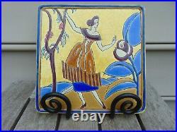 Longwy Primavera Rene Buthaud Art Deco Faience Trivet About 21 cm or 9.25