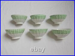 Lot 6 Bol Ancien Faience Vintage Decor Damier Vichy French Antique Old Bowl