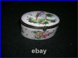 Lovely Antique Late 18th C. French Faience Aprey Porcelain Trinket Box 5x3x3