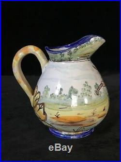 MONTAGNON CREAMER JUG Antique Nevers French Faience, Rare & Whimsical, c. 1880