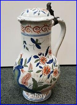 Mid 18th Century French Faience Pottery Bird/Floral Motifs Lidded Pitcher