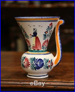 Mid-20th Century French Hand Painted Faience Vase Signed HB Quimper