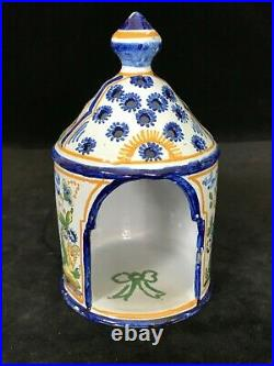 Nevers F. COTTARD LANTERN #1 Antique French Faience- Mansion House Dwarves c1910
