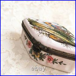 Old Antique French Faience-Aprey c. 1750s Trinket Hinged Box Hand Painted