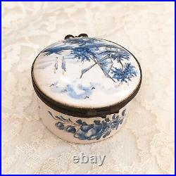Old Antique French Veuve Perrin Marseille Faience Hinged Box Hand Painted C. 1770