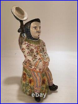 Old or Antique French Faience Full Figural Toby Jug Rouen Quimper PT