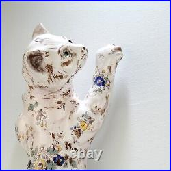 Old or Antique French Faience Pottery Cat Wall Pocket or Vase PT