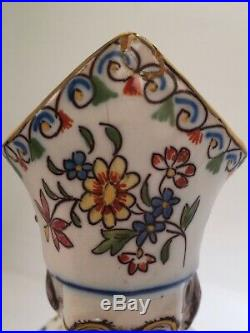 Old or Antique Rouen French Faience Pottery Candlestick Bishop or Pope PT