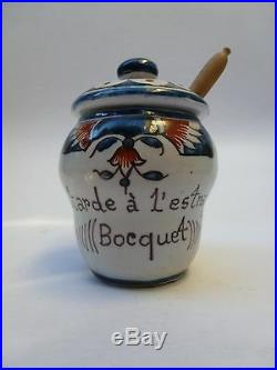 Original Antique French Faience Digoin Moutarde Bocquet Yvetot Mustard Jar