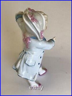 PAIR Antique FRENCH Faience Restaurant MENU Board Stand BOY & Girl HAND Painted