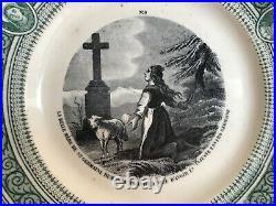 PAIR Old Creil et Montereau France Faience Polychrome Plates Religious