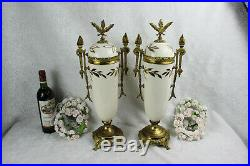 PAIR XL french antique art nouveau faience Vases urns