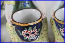 PAIR antique Desvres faience French Mustard Pots kitchen tableware