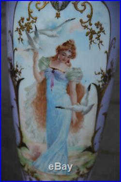 PAIR antique French Faience porcelain Lady figurine portrait Vases soft pastel