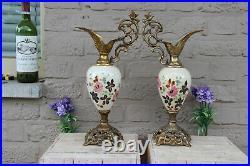 PAIR antique French faience Ewers vase with bird figurine floral decor