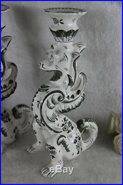 PAIR antique french faience Dragon lions gothic Candleholder / lamp griffin