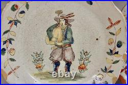Pair Antique PBX Malicorne French Pottery Country Faience Plates 9 5/8