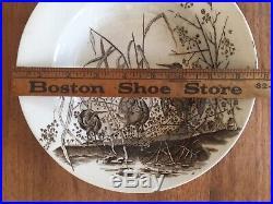 Pair French Antique Marsh Birds Brown Transferware Plates Victorian Faience Set